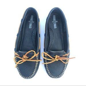 MINNETONKA Blue Leather Classic Moccasins